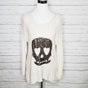 Vintage Havana Sequin Skull Sweater Size Small